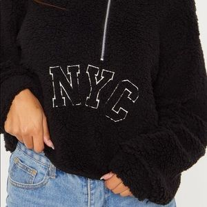 Prettylittle thing black furry half zip up sweater